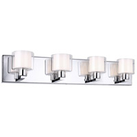 Signature 4 Light 26 inch Polished Chrome and White Vanity Wall Light