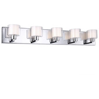 Signature 5 Light 32 inch Polished Chrome and White Vanity Wall Light