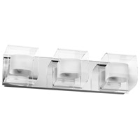 Frosted Glass 3 Light 19 inch Polished Chrome Vanity Wall Light
