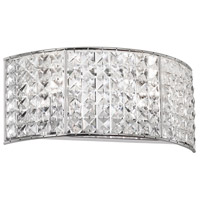 Crystal 2 Light 12 inch Polished Chrome Vanity Wall Light
