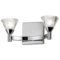 Dainolite Lighting Frosted Crystal 2 Light Vanity in Polished Chrome  V686-2W-PC
