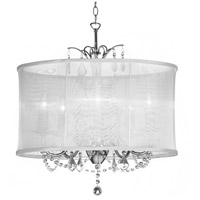 Vanessa LED 20 inch Polished Chrome Chandelier Ceiling Light in White Organza