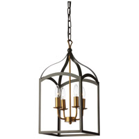 Dainolite WIN-214C-BK Windham 4 Light 11 inch Vintage Bronze and Matte Black Foyer Lantern Ceiling Light
