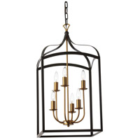 Windham 6 Light 16 inch Vintage Bronze and Matte Black Foyer Lantern Ceiling Light