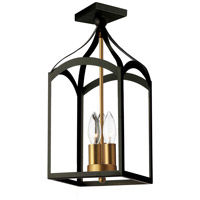 Windham 3 Light 8 inch Matte Black and Vintage Bronze Flush Mount Ceiling Light
