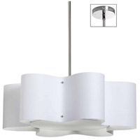 Dainolite ZUL-243-PC-WH Zulu 3 Light 24 inch Polished Chrome Pendant Ceiling Light in White