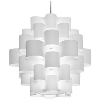 Dainolite ZUL-3634-PC-WH Zulu LED 36 inch Polished Chrome Pendant Ceiling Light in White Jewel Tone