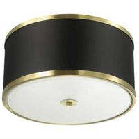 Dainolite ZUR-153FH-AGB-BK Zuri 3 Light 15 inch Aged Brass Flush Mount Ceiling Light in Black