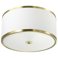 Dainolite ZUR-153FH-AGB-WH Zuri 3 Light 15 inch Aged Brass Flush Mount Ceiling Light in White