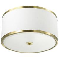 Dainolite ZUR-153FH-AGB-WH Zuri 3 Light 15 inch Aged Brass Flush Mount Ceiling Light in White