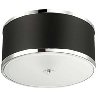 Dainolite ZUR-153FH-PC-BK Zuri 3 Light 15 inch Polished Chrome Flush Mount Ceiling Light in Black