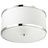 Dainolite ZUR-153FH-PC-WH Zuri 3 Light 15 inch Polished Chrome Flush Mount Ceiling Light in White