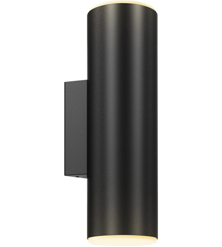 DALS Lighting LEDWALL-A-BK Wall A Series 1 Light 12 inch Black Indoor-Outdoor Sconce, Round Cylinder, Up and Down Projection photo thumbnail