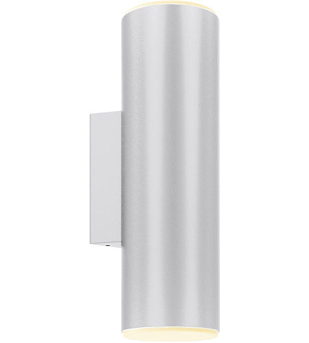 DALS Lighting LEDWALL-A-SG Wall A Series 1 Light 12 inch Satin Grey Indoor-Outdoor Sconce, Round Cylinder, Up and Down Projection photo thumbnail