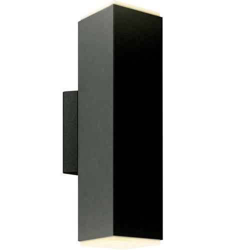 DALS Lighting LEDWALL-B-BK Wall B Series 1 Light 12 inch Black Indoor-Outdoor Sconce, Square Cylinder, Up and Down Projection photo thumbnail