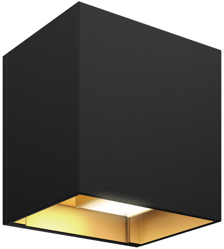 DALS Lighting LEDWALL-G-BG Wall G Series 5 inch Black with Gold Indoor-Outdoor Sconce, Square, Up and Down Projection photo thumbnail
