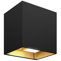 DALS Lighting LEDWALL-G-BG Wall G Series 5 inch Black with Gold Indoor-Outdoor Sconce, Square, Up and Down Projection