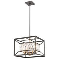 Decovio 13372-CWCI4 Gardiner 4 Light 15 inch Charcoal with Satin Brass Pendant Ceiling Light
