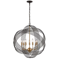 Decovio 13379-ORCI7 Heidelberg 7 Light 26 inch Oil Rubbed Bronze with Satin Brass Pendant Ceiling Light