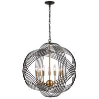 Decovio 13379-ORCI7 Heidelberg 7 Light 26 inch Oil Rubbed Bronze with Satin Brass Pendant Ceiling Light