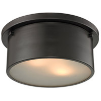 Decovio 13424-ORFW2 Saratoga 2 Light 10 inch Oil Rubbed Bronze Flush Mount Ceiling Light