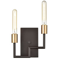 Decovio 13510-ORI2 Wright 2 Light 9 inch Oil Rubbed Bronze with Satin Brass ADA Sconce Wall Light