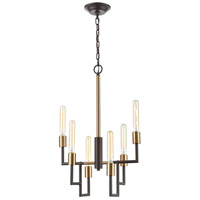 Decovio 13511-ORI6 Wright 6 Light 17 inch Oil Rubbed Bronze with Satin Brass Chandelier Ceiling Light