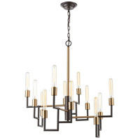 Decovio 13513-ORI12 Wright 12 Light 29 inch Oil Rubbed Bronze with Satin Brass Chandelier Ceiling Light