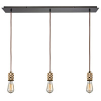 Decovio 13565-OR3-2 Collegeville 3 Light 36 inch Oil Rubbed Bronze with Polished Gold Mini Pendant Ceiling Light Linear