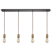 Decovio 13565-OR4 Collegeville 4 Light 46 inch Oil Rubbed Bronze with Polished Gold Mini Pendant Ceiling Light Linear