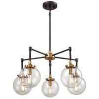 Decovio 13576-MBCB5 Altoona 5 Light 23 inch Matte Black with Antique Gold Chandelier Ceiling Light