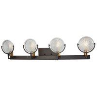 Decovio 13594-ORCR4 Moira 4 Light 36 inch Oil Rubbed Bronze with Satin Brass Vanity Light Wall Light