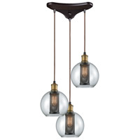Decovio 13600-ORC3 Airmont 3 Light 10 inch Oil Rubbed Bronze with Tarnished Brass Mini Pendant Ceiling Light, Triangular