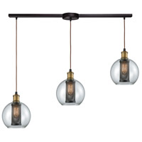 Decovio 13600-ORC3-2 Airmont 3 Light 36 inch Oil Rubbed Bronze with Tarnished Brass Mini Pendant Ceiling Light, Linear