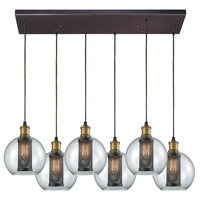 Decovio 13600-ORC6 Airmont 6 Light 30 inch Oil Rubbed Bronze with Tarnished Brass Mini Pendant Ceiling Light, Rectangular