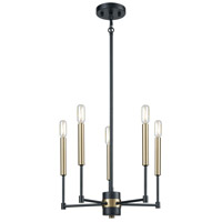 Decovio 13633-MB5 Monessen 5 Light 17 inch Matte Black with Satin Brass Chandelier Ceiling Light