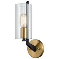 Decovio 13643-MBC1 McKees 1 Light 5 inch Matte Black with Satin Brass Sconce Wall Light