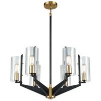 Decovio 13644-MBC6 McKees 6 Light 26 inch Matte Black with Satin Brass Chandelier Ceiling Light