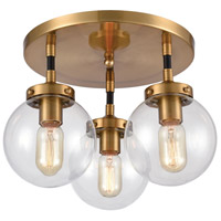 Decovio 13653-MBCI3 Altoona 3 Light 15 inch Matte Black with Antique Gold Semi Flush Mount Ceiling Light