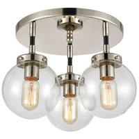 Decovio 13658-MBCI3 Altoona 3 Light 15 inch Matte Black with Polished Nickel Semi Flush Mount Ceiling Light