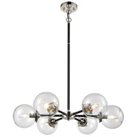 Decovio 13661-MBCI6 Altoona 6 Light 28 inch Matte Black with Polished Nickel Chandelier Ceiling Light