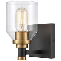 Decovio 13681-MBCI1 Monongahela 1 Light 6 inch Matte Black with Satin Brass Vanity Light Wall Light