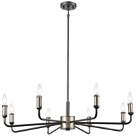 Decovio 13683-GII8 Paxton 8 Light 36 inch Gray Iron with Brushed Platinum Chandelier Ceiling Light