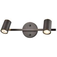 Decovio 13689-MBH2 Southport 2 Light 16 inch Matte Black with Satin Brass Vanity Light Wall Light