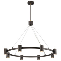 Decovio 13694-MBH8 Southport 8 Light 36 inch Matte Black with Satin Brass Chandelier Ceiling Light
