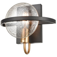Decovio 13695-MBMI1 Homer 1 Light 10 inch Matte Black with Satin Brass Sconce Wall Light