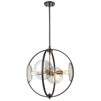 Decovio 13697-MBMI4 Homer 4 Light 20 inch Matte Black with Satin Brass Pendant Ceiling Light
