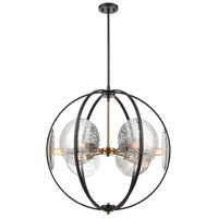 Decovio 13698-MBMI6 Homer 6 Light 28 inch Matte Black with Satin Brass Pendant Ceiling Light