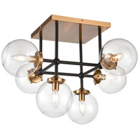 Decovio 13699-MBCI6 Altoona 6 Light 26 inch Matte Black with Antique Gold Semi Flush Mount Ceiling Light