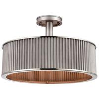 Decovio 13712-WZI3 Gloversville 3 Light 19 inch Weathered Zinc with Polished Nickel Semi Flush Mount Ceiling Light